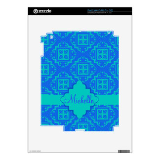Blue & Turquoise Arabesque Moroccan Graphic Skins For The iPad 2