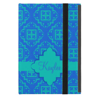 Blue Turquoise Arabesque Moroccan Name Personalize Case For iPad Mini