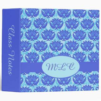 Blue Turquoise Art Nouveau Damask Monogram Album 3 Ring Binder