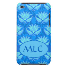 Blue Turquoise Art Nouveau Damask Monogram Barely There Ipod Case at Zazzle