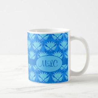 Blue Turquoise Art Nouveau Damask Monogram Classic White Coffee Mug