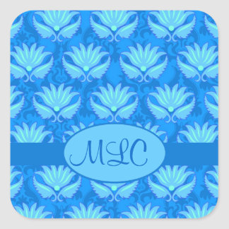 Blue Turquoise Art Nouveau Damask Monogram Square Sticker