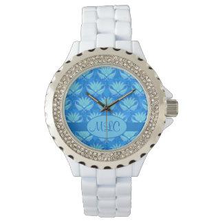 Blue Turquoise Art Nouveau Damask Monogram Wrist Watches