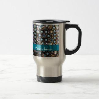 Blue turquoise beaded 15 oz stainless steel travel mug