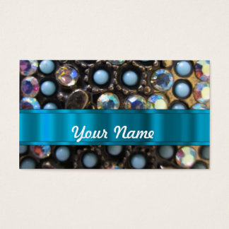 Blue turquoise beaded business card
