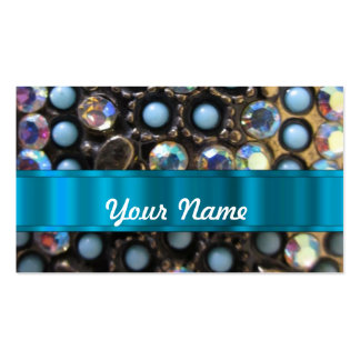 Blue turquoise beaded Double-Sided standard business cards (Pack of 100)