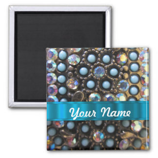 Blue turquoise beaded magnet