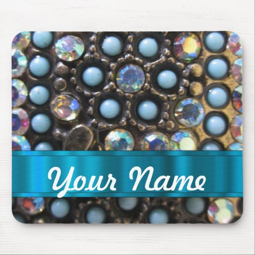 Blue turquoise beaded mouse pad