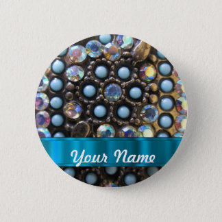 Blue turquoise beaded pinback button