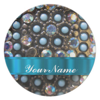 Blue turquoise beaded plate