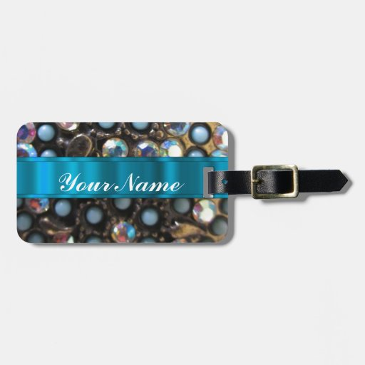 Blue turquoise beaded tags for bags