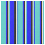 [ Thumbnail: Blue, Turquoise, Bisque, and Black Colored Lines Fabric ]