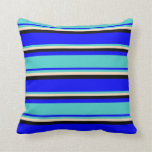 [ Thumbnail: Blue, Turquoise, Bisque, and Black Colored Lines Throw Pillow ]