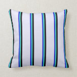 [ Thumbnail: Blue, Turquoise, Black, and Lavender Colored Throw Pillow ]