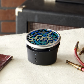 Blue Turquoise Black Cheetah Abstract Bluetooth Speaker