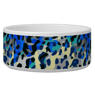Blue Turquoise Black Cheetah Abstract Bowl