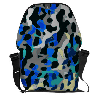Blue Turquoise Black Cheetah Abstract Courier Bag
