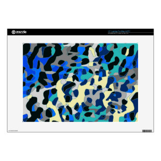 "Blue Turquoise Black Cheetah Abstract Decals For 15"" Laptops"