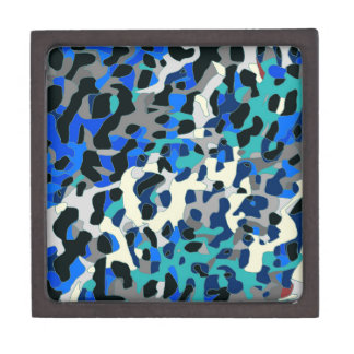 Blue Turquoise Black Cheetah Abstract Jewelry Box
