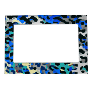 Blue Turquoise Black Cheetah Abstract Magnetic Picture Frame