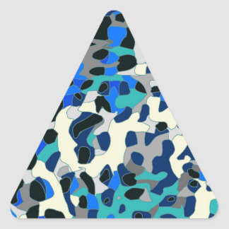 Blue Turquoise Black Cheetah Abstract Triangle Sticker