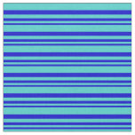 [ Thumbnail: Blue & Turquoise Colored Lines Fabric ]