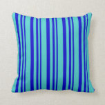 [ Thumbnail: Blue & Turquoise Colored Lines Throw Pillow ]