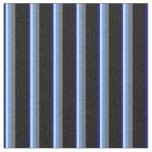 [ Thumbnail: Blue, Turquoise, Cornflower Blue, Dim Gray & Black Fabric ]