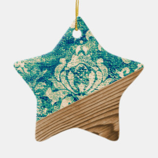 Blue Turquoise Damask Wood Grunge Teal  Phone Case Ceramic Ornament