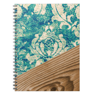 Blue Turquoise Damask Wood Grunge Teal  Phone Case Notebook