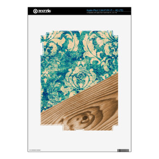 Blue Turquoise Damask Wood Grunge Teal  Phone Case Decals For iPad 3