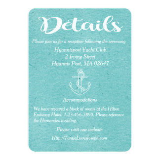 Blue Turquoise Details Anchor Nautical Wedding Card