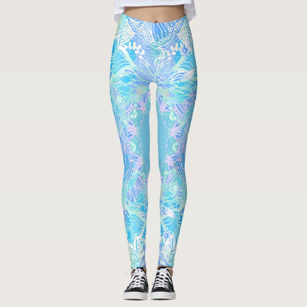 Blue turquoise floral watercolor handdrawn mandala leggings