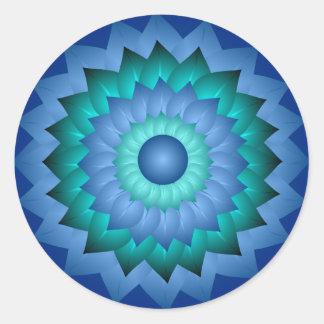 Blue Turquoise Flower Art Sticker