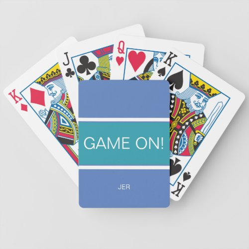 Blue  Turquoise GAME ON Quote Monogrammed Bicycle Playing Cards
