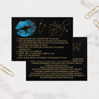 Blue Turquoise Glitter Lips - How to Apply Business Card