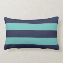 Blue Turquoise Hipster Rugby Stripes Lumbar Pillow