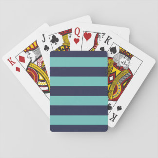 Blue Turquoise Hipster Rugby Stripes Playing Cards