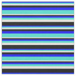 [ Thumbnail: Blue, Turquoise, Light Yellow, and Black Lines Fabric ]