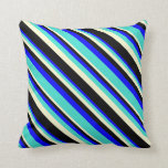 [ Thumbnail: Blue, Turquoise, Light Yellow, and Black Lines Throw Pillow ]