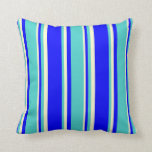 [ Thumbnail: Blue, Turquoise & Light Yellow Colored Lines Throw Pillow ]