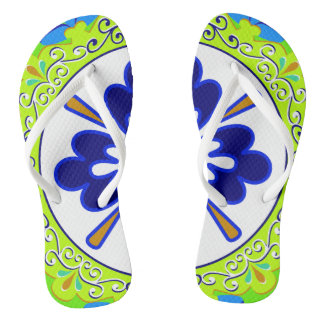 Blue, Turquoise, Lime Green and White Plate Flip Flops