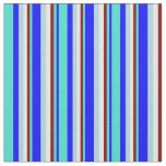 [ Thumbnail: Blue, Turquoise, Maroon, White, and Light Blue Fabric ]