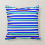 [ Thumbnail: Blue, Turquoise, Maroon, White, and Light Blue Throw Pillow ]