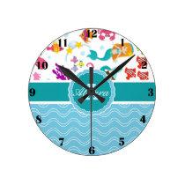 Blue Turquoise Mermaid Clock