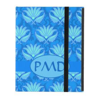 Blue Turquoise Modern Damask Monogram Custom iPad Case