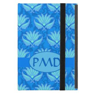 Blue Turquoise Modern Damask Monogram Custom iPad Mini Case