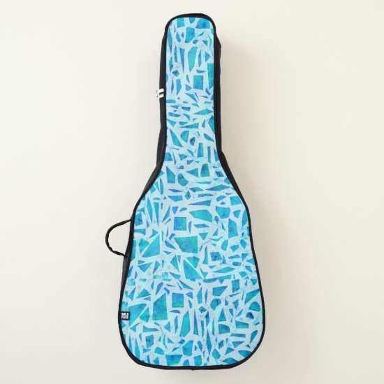 Blue Turquoise Mosaic Glass Tile Modern Chic Guitar Case