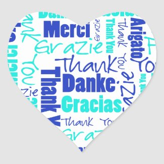 Blue / Turquoise Multilingual Thank You Word Cloud Heart Sticker