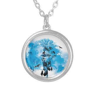 Blue Turquoise Nature Land Tree Bird Design Round Pendant Necklace